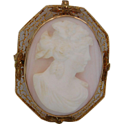 10k Yellow Gold Angel Skin  Cameo Brooch