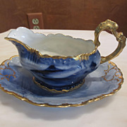 Limoges Blue and Gold Fish Gravy Boat w/Plate