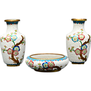 Chinese Diaper Cloisonne 2 Vases with Center Bowl Set Jade Flower Design