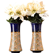 Royal Doulton England 1922-56 Blue with Beige Flowers 8488N Slater Line Vase Pair