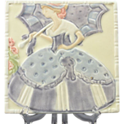 Rookwood Pottery GWTW 1922 Trivet Tea Tile Southern Belle with Parasol #3069