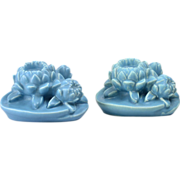 Rookwood Pottery 1944 Blue Water Lily Bookends # 2836