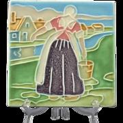 REDUCED Rookwood Pottery 1922 Tea Tile Trivet Dutch Girl #1819