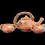 1948 Roseville Pottery Pink Coral Apple Blossom Tea Set #371