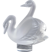 Lalique Crystal Double Swan Paperweight Figural