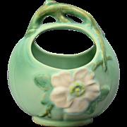 Weller Pottery Basket, Green Wild Rose ca. 1930's