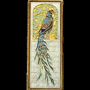 Delft Pottery Cloisonne Peacock Tile Plaque