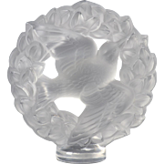 Lalique Crystal Paperweight, Sparrow Peace Dove in Holly Wreath
