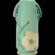 Weller Pottery Vase Green Wild Rose, 1930's