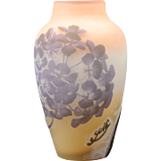 Galle French Cameo Art Glass Vase with Purple Hydrangea Flowers