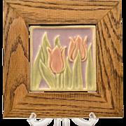 Rookwood Pottery Faience Tulip Tile in Custom Frame