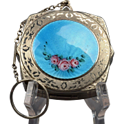 Round Blue Enamel Roses Guilloche Finger Ring Dance Compact with Keychain