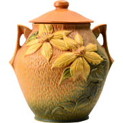 Roseville Pottery Cookie Jar Autumn Brown Clematis (Shape 3-8), 1944