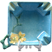 Roseville Pottery Ashtray Azure Blue Wincraft (Shape 240-T) , 1948
