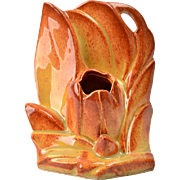 Nelson McCoy Pottery, Brown Sunburst Tulip Planter Bookend 1940