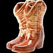 Mccoy Pottery Vase, Brown Cowboy Boots 1960's