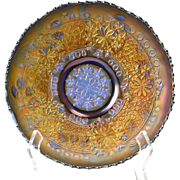 Fenton Glass Bowl, 1910 Thistle Cobalt Blue Carnival Bowl