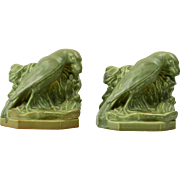 Rookwood Pottery Bookends Mat Green Rook (Shape #2275) W McDonald, 1943