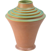 Roseville Pottery Vase Art Deco Futura Pink and Green Stepped Urn Vase (395-10), 1924