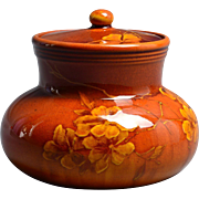 Rookwood Pottery 1889 Hand Thrown Standard Glaze Flowers Lidded Scent Jar #478 Harriet Wilcox