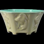 Rookwood Pottery Bowl, Matt White Celadon Footed Fish Bowl (Shape #6086), 1929