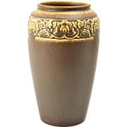 Rookwood Pottery Vase, Arts and Crafts Chocolate Floral Rim Vase #2484, 1924