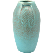 Rookwood Pottery Vase, Arts and Crafts Blue Vellum Peacock Feather Vase #2402, 1918
