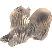 Lalique Crystal Paperweight, Yorkshire Yorkie Terrier Figurine
