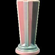 Roseville Pottery Vase Futura Pink Pleated Star Vase (Shape 385-8) 1924