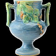 Roseville Pottery Vase Blue Bushberry 2 Handle Vase #156-6, 1941