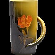 Rookwood Pottery Vase, 1891 Twist Handle Mug Marigold Flower #328B