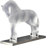 Lalique Crystal Paperweight, Siglavy Horse on Stainless Steel Base