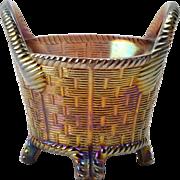 Northwood Glass Bowl, 1902-25 Amethyst Purple Carnival Basketweave Bushel Basket