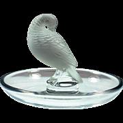Lalique Crystal Bowl, pre-1978 Pheasant Tucked Head Pin Tray Small Bowl