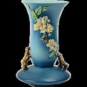 Roseville Pottery Vase, 1948 Blue Apple Blossom Vase #388-10