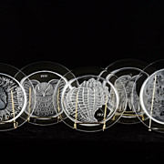 Lalique 1970 to 1974 Limited Edition Annual Crystal Plates (Peacock, Owl, Conquille Shell, ...