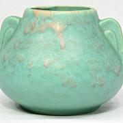Early Brush McCoy mottled art vellum vase with 2 handles, from 1924