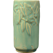 Early Nelson McCoy 1930s Soft Pastel Green Butterfly Cylinder Vase