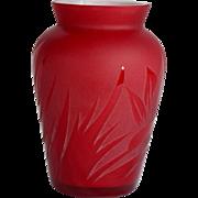 REDUCED Pilgrim Red Cameo Art Deco Leaves Vase Signed by Kelsey Pilgrim USA