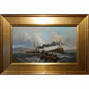 Antique Oil Painting Steam Powered Tall Ship In French Harbor