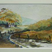 New England Autumn Country Lane Watercolor Signed