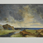 Rain Clouds Over The Ocean Marine Watercolor Massachusetts Artist