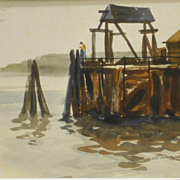 SOLD Man Fishing  On Old Pier: New England Marine Watercolor Painting - Red Tag Sale Item