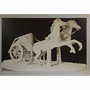 Antique Albumen Photo Of Roman Chariot Sculpture