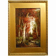 P. Whitford Antique Oil Painting Fall Landscape