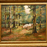 Antique American Tonalist Oil Painting Of Sheep