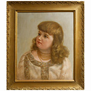 Antique Oil Portrait of Victorian Girl With Jewelry