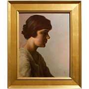 Antique Boston School Portrait Of A Woman By Churchill