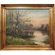 Antique American Landscape Oil Painting 1890's Signed