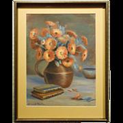 Fall Floral Pastel Still Life Signed Lillian Proctor